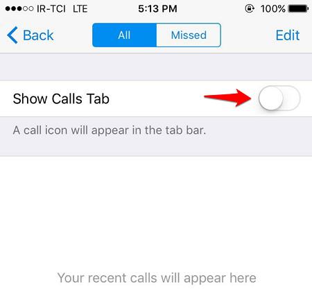 Show Calls Tab